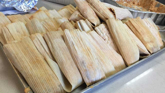 Two dozen tamales, waiting to be wrapped and then steamed.