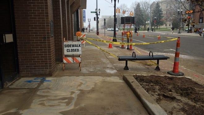 Part of Allegan Street is closed following a water main break.