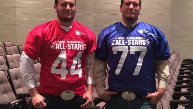 Dylan Sweat (44) and Blake Sweat (77) are twin brothers who've played offensive line at Adamsville the past four years. They will be on opposing teams in Friday's West Tennessee All-Star Football Game at Liberty.
