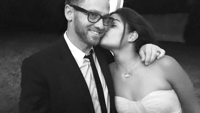 TobyMac and his daughter, Marlee, 13 — one of the adopted twins — at a wedding in August