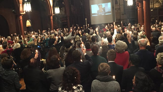A crowd of several hundred gather Dec. 9, 2015, at St. Marks Episcopal Church near the U.S. Capitol to hold a vigil for the victims of the 2012 massacre at Sandy Hook Elementary School in Newtown, Conn.