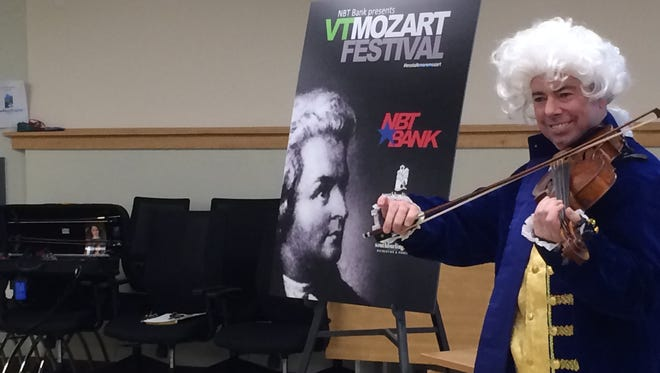 Montpelier musician Paul Reynolds portrayed Wolfgang Amadeus Mozart at a news conference Friday introducing the revived Vermont Mozart Festival.