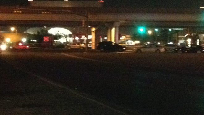 El Paso police investigate after an officer fired at a truck near the Zaragoza Bridge on Friday.