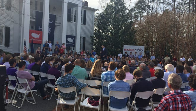 Florida Sen. Marco Rubio campaigns for president in front of Cherrydale Alumni House at Furman University Saturday.