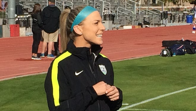 Julie Johnston talks to the media before U.S. women's national team practice at Grand Canyon University on Saturday, Dec. 12.