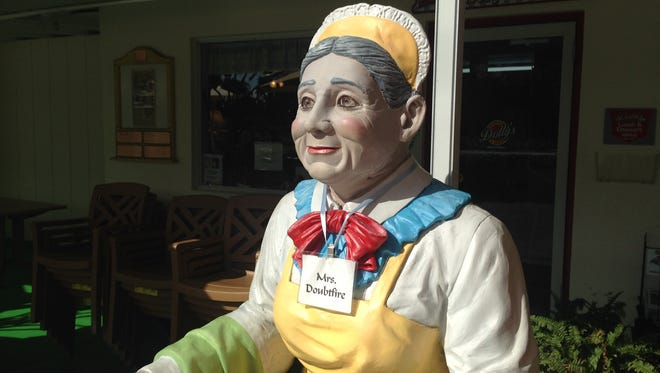 Patrons of Dolly's Produce Patch and Eatery in Bonita Springs are greeted by a friendly statue near the front door.