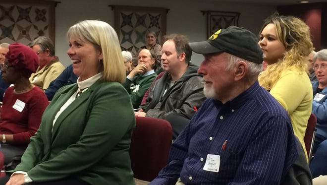 Lisa Green-Douglass, left, was chosen on Wednesday night as the Democratic nominee for Johnson County Supervisor for a special January election.
