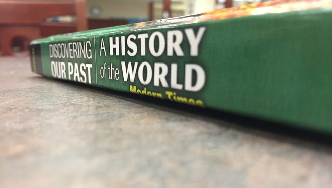 The Discovering our Past textbook pictured is used by seventh graders in Rutherford County Schools.