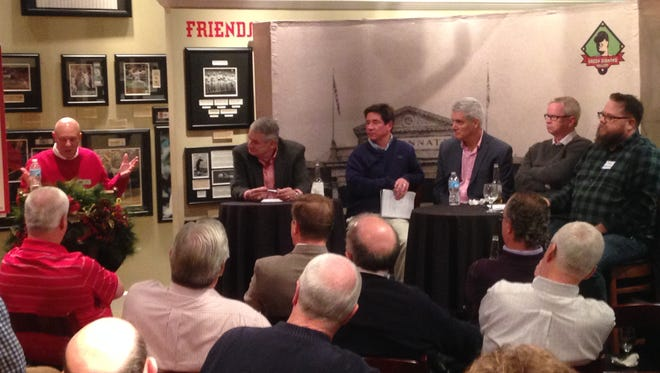 From left: Moderator Greg Rhodes, Hal McCoy, Paul Daugherty, John Erardi, John Fay and C. Trent Rosecrans.