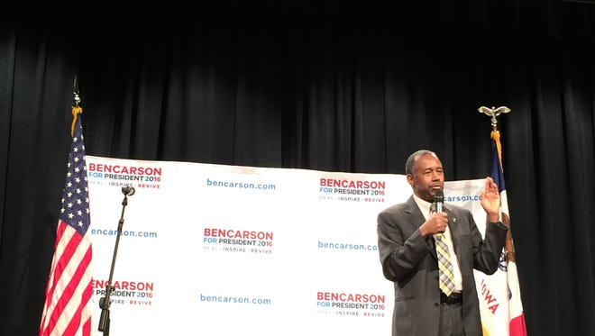Republican presidential candidate Ben Carson speaks at Buena Vista University in Storm Lake on Friday, Dec. 18, 2015.