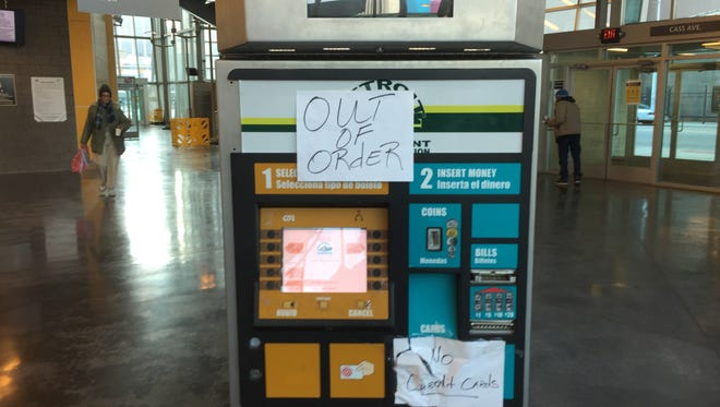 A ticket machine is out of order at the Rosa Parks Transit Center in Detroit in December 2015. Transit advocates say it's representative of problems at the center.