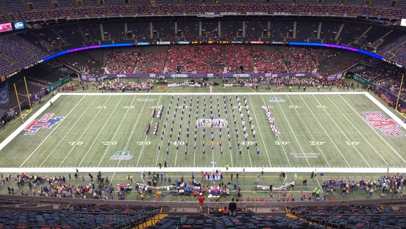 Louisiana Tech's band takes the field Saturday in the