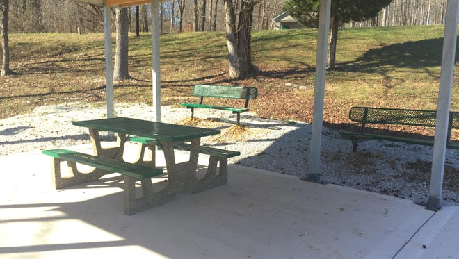 Two metal benches, bought with grant money, have been installed at a new picnic pavilion. Another table, also purchased with grant money, will be installed under the pavilion.