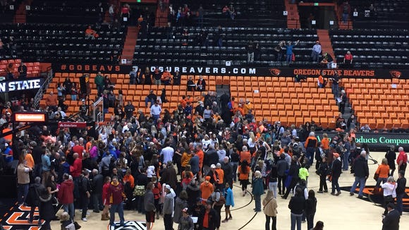 Oregon State women's basketball players meet with fans at Gill Coliseum after a 53-50 loss to Tennessee on Dec. 19, 2015.