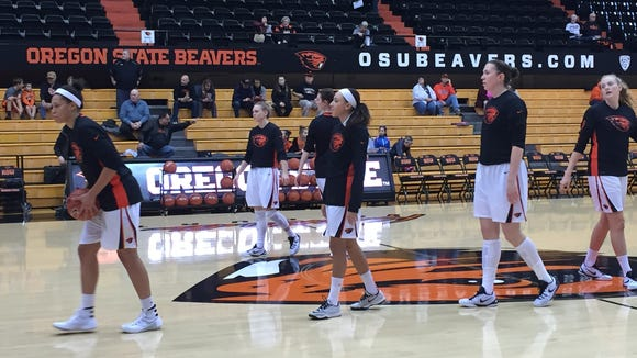 The Oregon State women's basketball team warms up before Monday's game against Cal Poly at Gill Coliseum.