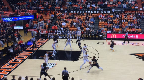 Oregon State vs. Quinnipiac in first half action Monday at Gill Coliseum.