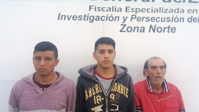 Noe Huerta Granados, from left, Jonathan Adrian Renovato Mata and Jose Alfredo Rojas Gonzalez were arrested in Juárez and accused of kidnapping a reputed heroin dealer.