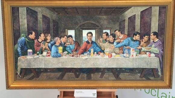 Not exactly related to Festivus, but the 'Seinfeld' 'Last Supper' picture was on display at the Hulu pop-up apartment in L.A. Yes, that's Jerry in the center.