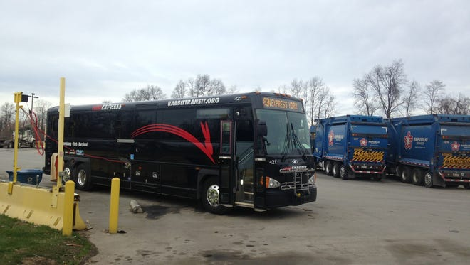 The first in rabbittransit's new fleet of buses that run on compressed natural gas fuels up at Republic Services.