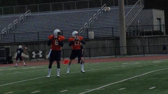Auburn quarterbacks Jeremy Johnson (6) and Sean White