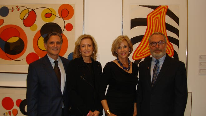 (left to right) of Owner of Heather James Fine Art James Carona, Chair of BIGHORN BAM Selby Dunham, Model Patti Goodman, and Jewelry Designer & Master Goldsmith Michael Kneebone.