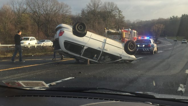 A minivan overturned on the Hutchinson River Parkway on Thursday, Dec. 31, 2015.
