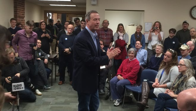 Martin O'Malley spoke to a crowd of around 120 people during a West Des Moines campaign stop Saturday.