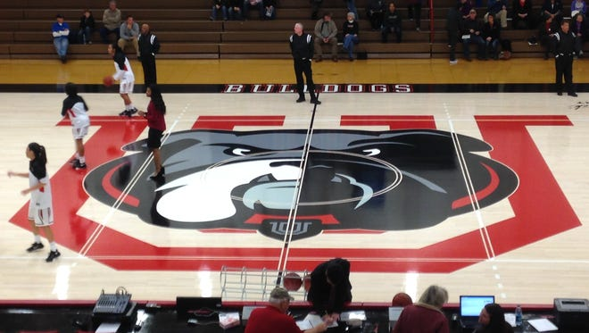 Union University's new bulldog logo is now featured at midcourt along with the U.