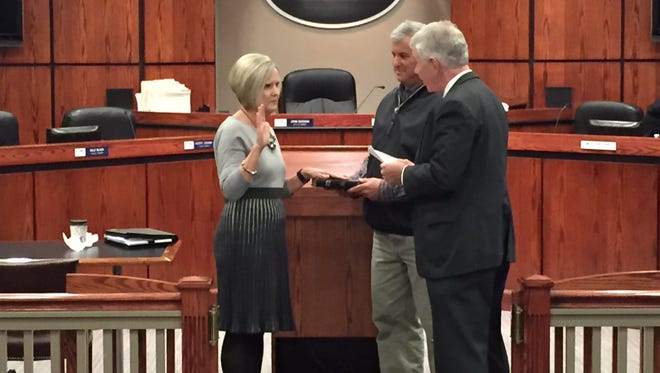 Carol King is sworn in as Mauldin's newest member of City Council Monday.