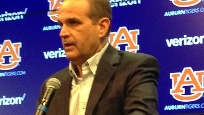 Auburn defensive coordinator Kevin Steele addresses the media Tuesday, Jan. 5, 2016.