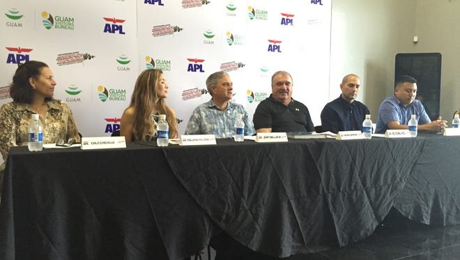 APL was announced as a title sponsor for the 34th annual APL Smokin' Wheels race weekend during a press conference at Mid-Pac on Thursday. From left, Guam Visitors Bureau deputy general manager Telo Taitague, APL sales manager Melanie Palomo, APL general manager John Selleck, Guam Raceway Federation president Henry Simpson, Tropical Productions, Inc. CEO E.J. Calvo and Tom Akigami from GRF helped make the announcement.