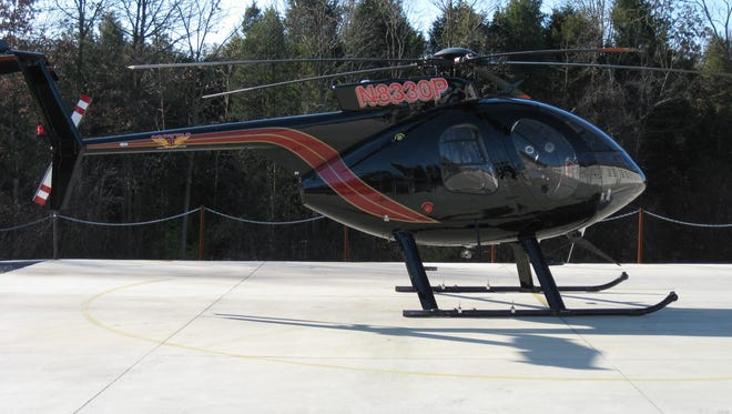 This Haverfield Corp. helicopter will be used to do visual inspections of JCP&L's transmission lines in Monmouth and Ocean counties over the next three to four weeks.