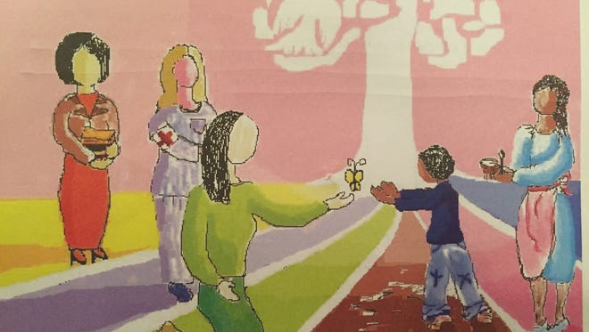 "Thoughts from artist Linda Rumpf:  ""This image shows different pathways the peacemakers take to share their gifts with the poor child here. We would bring this population education, health care and food, while the figure in the center brings the most important gift. The butterfly she gives to the child represents hope"""