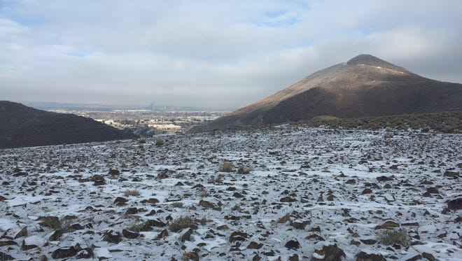 The view of snow toward Reno from Huffaker Park on Jan. 9, 2016.