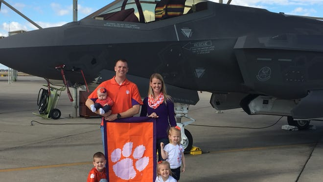 U.S. Air Force Capt. Casey Manning, a graduate of Mauldin High School and Clemson University, will leave his wife, Becky, a 2006 Clemson graduate, and kids on the ground to participate in a national championship fly-by Monday.