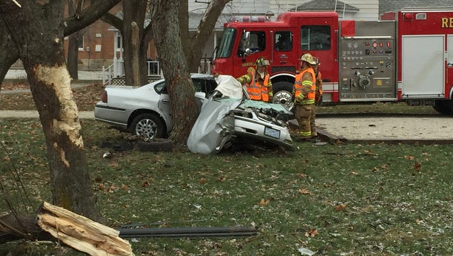 One woman died and one woman was injured in a single-vehicle crash Sunday on Indiana 25 West near Shadeland.