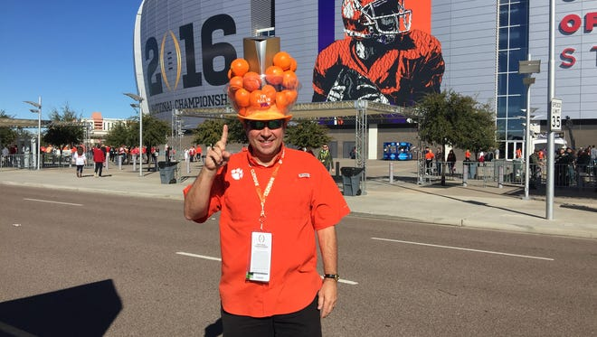 Marty Osborn and his #NattyHat in front of the University of Phoenix stadium before the national championship game.