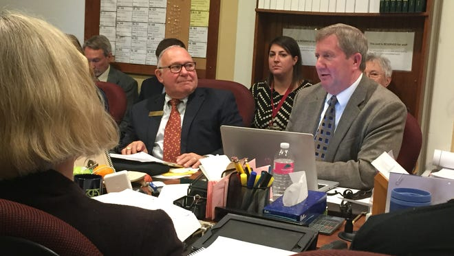 Rep. Kurt Wright, R-Burlington, right, voted Tuesday to raise a limit on school spending that has caused some school districts to struggle. Wright and the other members of the House Education Committee unanimously endorsed the proposal, 11-0.
