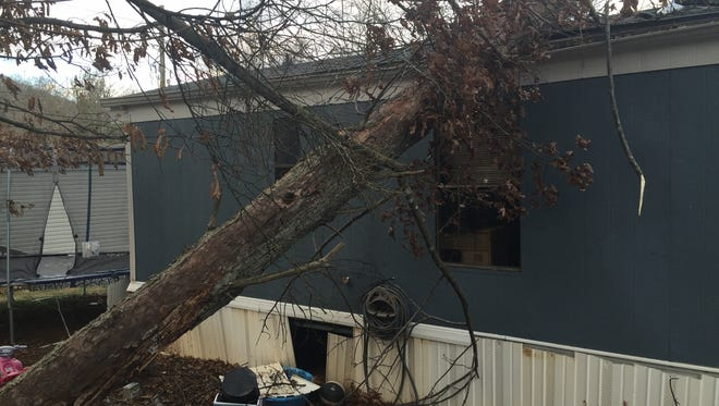 Strong winds caused a tree to fall on a mobile home on Jugtown Road in Candler Tuesday afternoon.