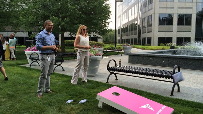 RB employees socialize outside the consumer health product corporation's North American headquarters in Parsippany.
