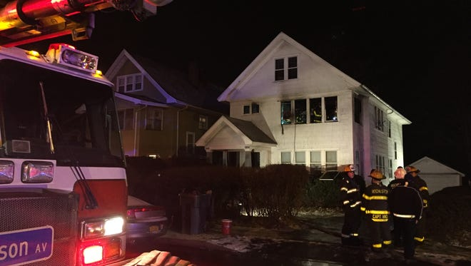 Rochester firefighters on scene at a fire in the 1000 block of Bay Street on Tuesday night.