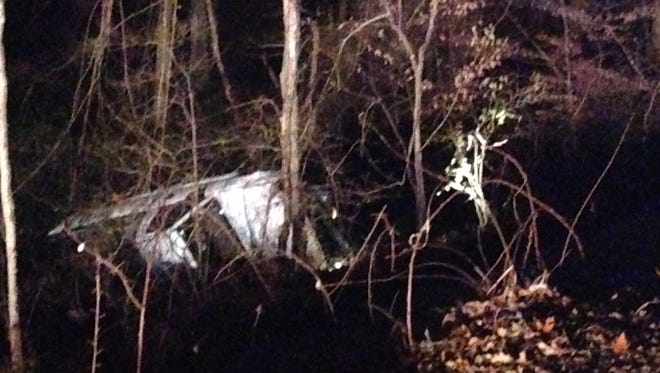 A vehicle went off of Upper Pike Creek Road, which will be closed until power lines are restored.