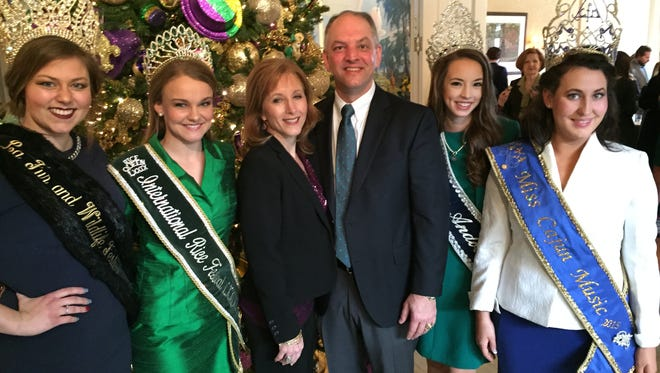Princesses and queens from the Acadiana region met with Gov. John Bel Edwards and First Lady Donna Edwards during a reception at the Governor's Mansion Wednesday.