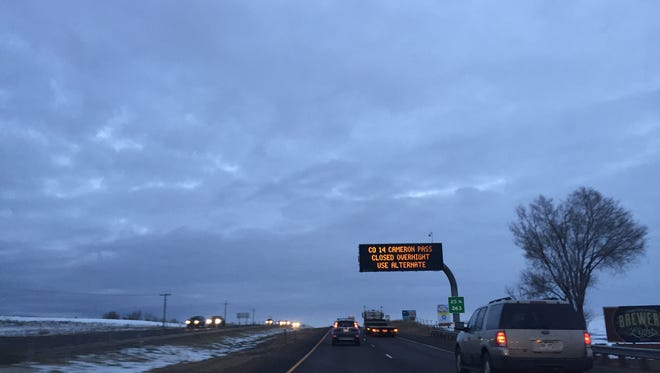 For the first time in five years, crews had to shut down Colorado 14 at Cameron Pass on Sunday because avalanche concerns. This sign on northbound I-25 on Sunday alerted travelers of the closure.
