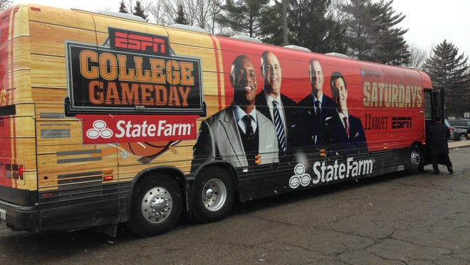 The ESPN College Basketball GameDay bus immediately after it arrived Thursday at Haslett Middle School.