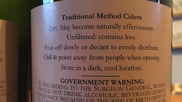 The back label of an Aaron Burr Cider displays the