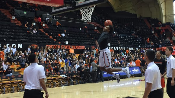 Oregon State guard Derrick Bruce during pregame warmups for the USC game at Gill Coliseum on Jan. 24, 2016.