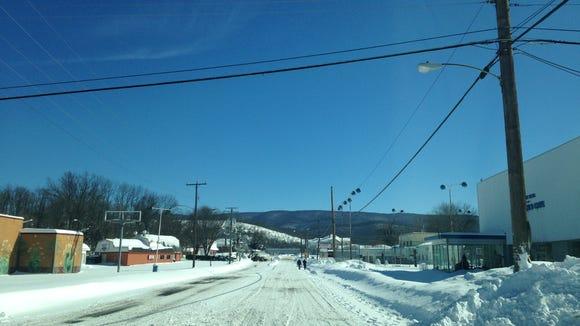 Packed snow on Main Street in Waynesboro on Sunday,