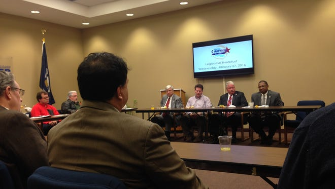 The Central Louisiana Chamber of Commerce Board and Legislative Committee met with state legislators from the area Wednesday morning to discuss the mid-year's and next fiscal year's state budget deficits.