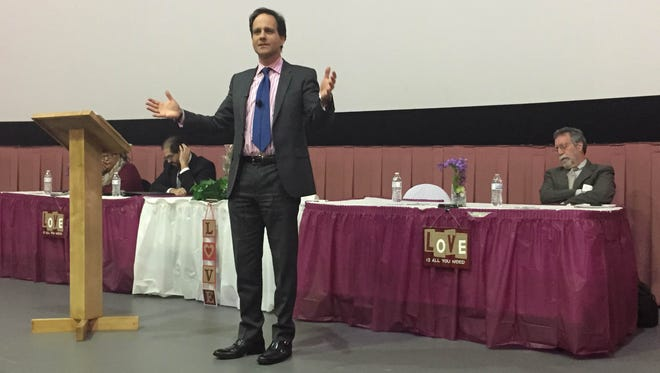 Rabbi Jonah Pesner, the director of the Religious Action Center of Reform Judaism, speaks about ways to bring people together despite their differences during a Family of Abraham forum at the Islamic Center of Tennessee in Antioch on Tuesday, Jan. 26, 2016.